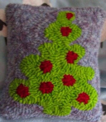 """Primitive Hooked Rug Grinch  Christmas Tree,  Neon  Green with Red 7"""" Xx 8"""""""