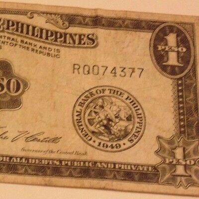 Really OLD 1949 Philippine 1 Peso Banknote