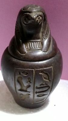 Egyptian Antique, HORUS Symbol of protection,  Canopic Jar 68 g, see description
