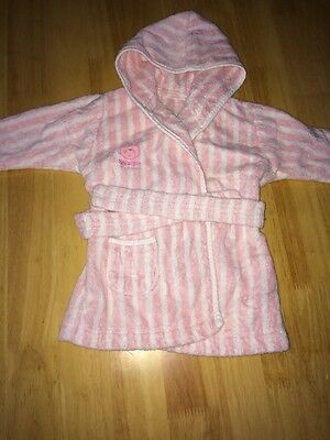Mothercare Baby Girls Dressing Gown/bathrobe 3-6 Months Pink/white stripped