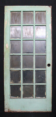 "35""x 84"" Antique Exterior Entry Front French Birch Wood Door 18 Glass Lites"