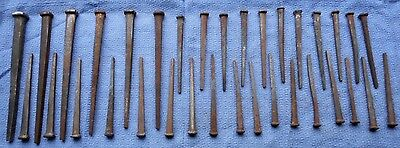 Lot Of 34 Vintage Square Cut Nails Mixed With Spikes