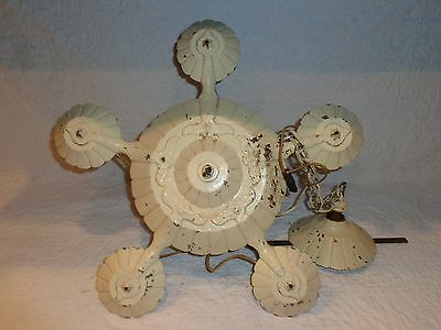 Vintage Architectural Salvage Cast Metal 5 Light Ceiling Light, For Restoration