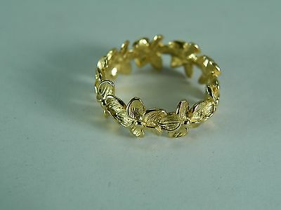 Na Hoku Sultan Hawaiian Plumeria Eternity Ring 14k Yellow Gold Flower Size 6.5