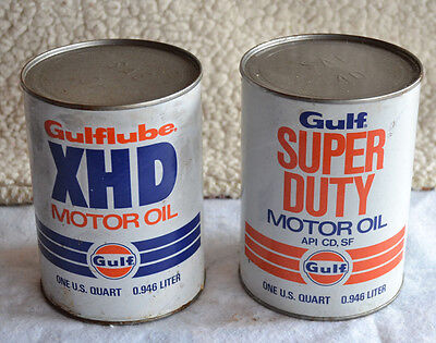 Vintage Set Of 2 Gulf 1 Quart Motor Oil Can Composite Full