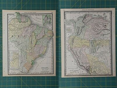 Brazil South America Vintage Original 1892 Rand McNally World Atlas Map Lot
