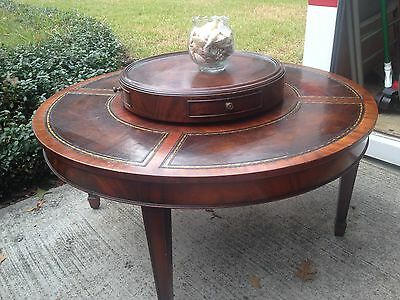 Weiman Leather /Mahogany Top Coffee Table 9324 Heirloom Quality Circa 1930's