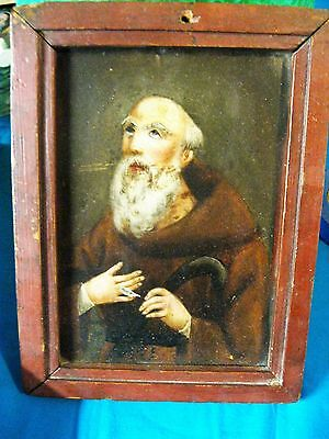 Antique Oil Painting On Tin Image Of Saint Francis Master Painter W/ Wood Frame