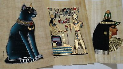 3 Egyptian Papyrus, Isis,  Egyptian Cat, Queen Cleopatra, 12x16 Cm Hand Painted