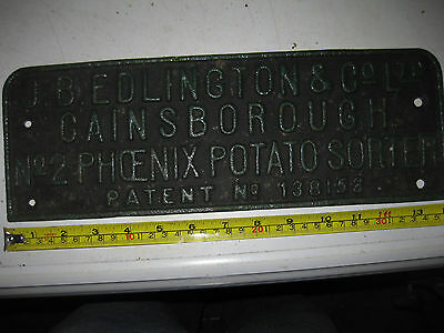 Original Cast Iron Sign, JB Edlington & Co Ltd, Gainsborough.....Potato Sorter