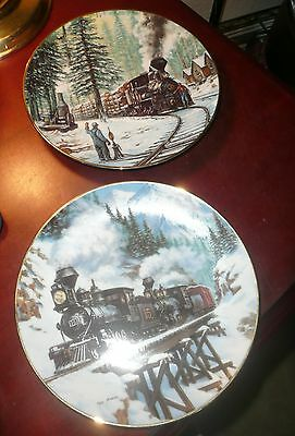 2X 8''  Ted Xaras Train Collector Plates WINTER CROSSING + TIMBERLINE,1992-93