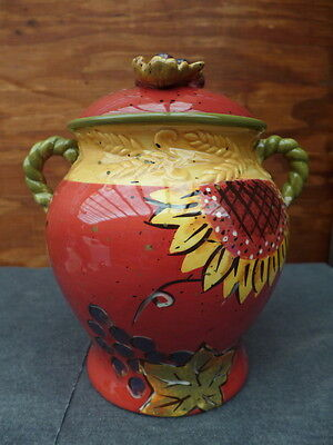 Ceramic Handpainted Red & Yellow Sunflowers Grapes & Pears Cookie Candy Jar Vase