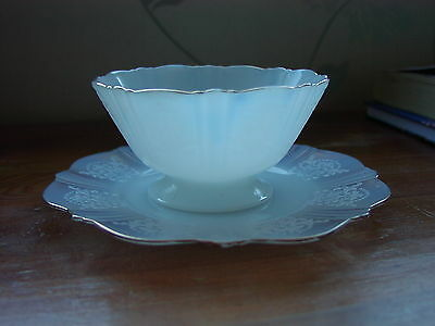 White Opalescent/Translucent Monax Glass Bowl & Saucer By Macbeth-Evans USA
