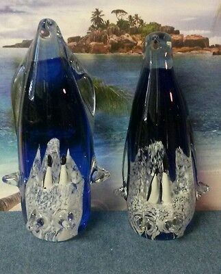 Set of Two Art Glass Penguin Statues
