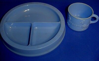 """68 Years Old Child""""s Cup And Divided Serving Plate Dish Blue Alphabet Numbers"""