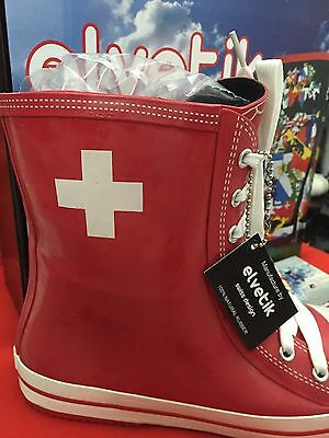 Elvetik Swiss Design Natural 100 % Rubber Boots New In Box Size 9