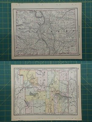 Colorado New Mexico Vintage Original 1892 Rand McNally World Atlas Map Lot