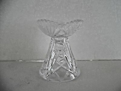Clear Pressed Glass Candle Holder Scalloped Sawtooth Edge