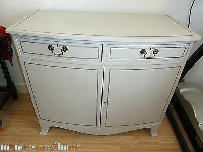 Original antique hand painted shabby chic style bow front cupboard , sideboard