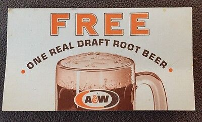 Vintage Original A & W ROOT BEER Free One Coupon Card Corvallis, OR