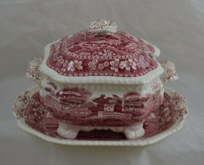 Spode Tower Pink Red Old Mark Covered Covered Sauce Gravy Underplate Replace 300