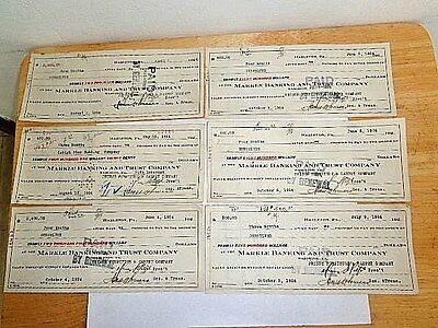 """Ant.""""LOT of (6) The Markle Banking And Trust Co-Bank Checks -Hazleton, PA (1924)"""