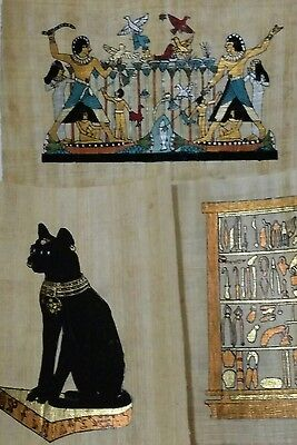 3 Egyptian Papyrus, CAT Bastet & Hunting & Tools  12x16 Cm Hand Painted