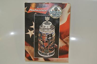 USA NATIONAL GUARD Budweiser Collector Beer Stein Serial No01860 Orig $35 SEALED