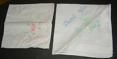 2 Vintage? Fine Cotton Embroidered Thank You Flowers White Handkerchief Hankies