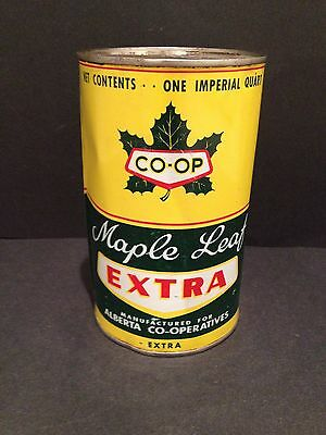 Co-op / Maple Leaf Quart Oil Can Vintage collectible advertising Alberta