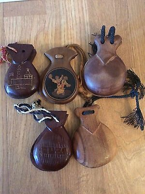 Vintage Wood Castanets - Qty of 5 (2 marked Cuba; 1 picture of Flaminco dancers)