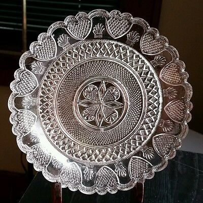 Early 19thC Boston & Sandwich Lacy Flint Glass Plate Pre 1830 PRICE REDUCED !!