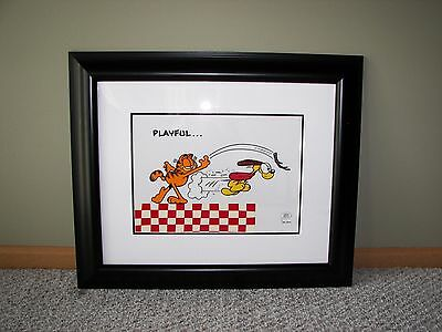 """""""PLAYFUL"""" Garfield Sericel by Jim Davis - LE- Framed w/COA- Excellent Condition"""