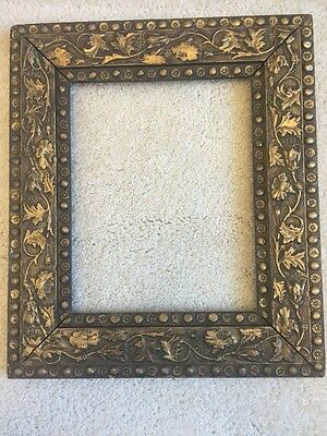 Ornate 1930's art deco solid wood carved frame holds 8X10 overall 12 X 14