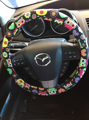 Colorful Owls Steering Wheel Cover