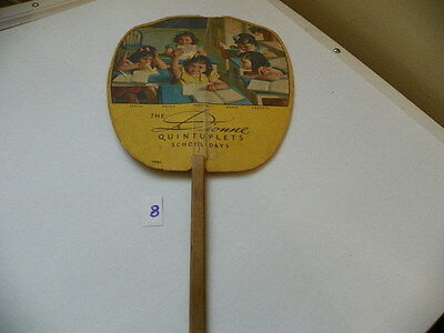 Columbus, Indiana  Hand Held Paper Fan. Vintage  The Dionne Quintuplets School