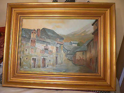 Original Oil Painting in Magnificent Frame.J. Rodiles.Street Scene with Mountain