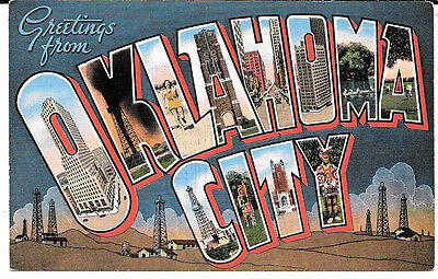 Oklahoma City Postcard: Large Letter Greetings Apache Indian, Oil Gusher, Ok