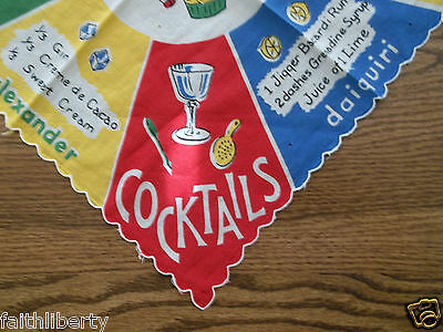 HOLIDAYS Vintage Hankie Cocktails Mixed Drinks Fabric Daiquiri Martinis PARTY
