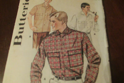 Vintage Butterick Sewing Pattern 2233 Sew Men's Convertible Collared Shirt