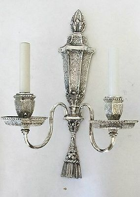 Exceptional Engraved Pair E. F. Caldwell Siver Two-Arm Sconces