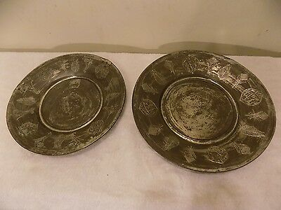 2 Antique Middle Eastern Islamic Tinned Copper Plates Dishes Chargers