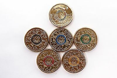 AUSTRALIA SET OF $2 OLYMPIC TEAM coin BLUE,RED,GREEN,YELLOW,BLACK ,Multi- COLOUR