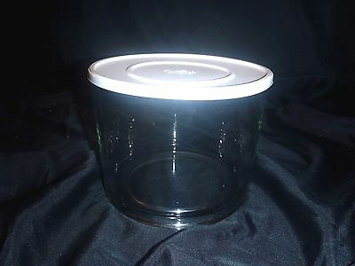 THE PAMPERED CHEF clear glass TRIFLE BOWL & LID #2832 NO STAND EUC