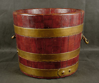 Large Late Georgian Early Victorian Brass Bound Mahogany Wine Cooler - No Liner