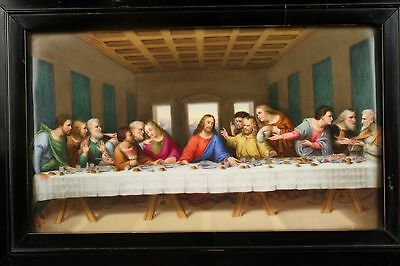 Beautiful Antique KPM Style Plaque 'The Last Supper' In Original Lacquered Frame