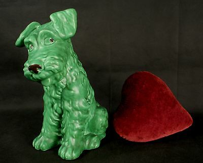 "Large 11 1/2"" SylvaC 1380 Green Fireside Terrier Marked Made In England"