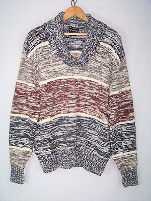 Mens Vtg 70's Space Dye Shawl Sweater Grandpa // L // m751