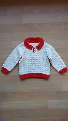 Girls Jumper Hand Knitted Wool Angora Excellent Condition size 2 to 3