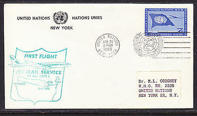 United Nations 1960 Jetmail   New York to Portland  Flight Cover addressed
